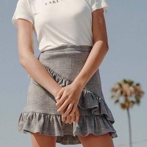 Gray Plaid Ruffle Skirt